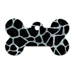 SKIN1 BLACK MARBLE & ICE CRYSTALS Dog Tag Bone (One Side)
