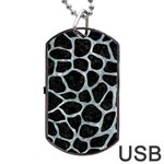 SKIN1 BLACK MARBLE & ICE CRYSTALS Dog Tag USB Flash (Two Sides)