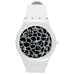 SKIN1 BLACK MARBLE & ICE CRYSTALS Round Plastic Sport Watch (M)