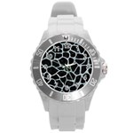 SKIN1 BLACK MARBLE & ICE CRYSTALS Round Plastic Sport Watch (L)