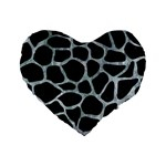 SKIN1 BLACK MARBLE & ICE CRYSTALS Standard 16  Premium Heart Shape Cushions