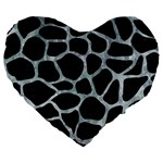 SKIN1 BLACK MARBLE & ICE CRYSTALS Large 19  Premium Heart Shape Cushions