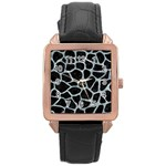 SKIN1 BLACK MARBLE & ICE CRYSTALS Rose Gold Leather Watch