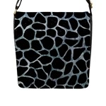 SKIN1 BLACK MARBLE & ICE CRYSTALS Flap Messenger Bag (L)