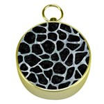 SKIN1 BLACK MARBLE & ICE CRYSTALS Gold Compasses