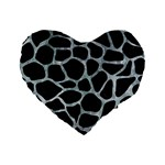 SKIN1 BLACK MARBLE & ICE CRYSTALS Standard 16  Premium Flano Heart Shape Cushions