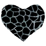 SKIN1 BLACK MARBLE & ICE CRYSTALS Large 19  Premium Flano Heart Shape Cushions