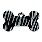 SKIN3 BLACK MARBLE & ICE CRYSTALS (R) Dog Tag Bone (One Side)