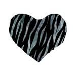 SKIN3 BLACK MARBLE & ICE CRYSTALS (R) Standard 16  Premium Flano Heart Shape Cushions