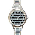 STRIPES2 BLACK MARBLE & ICE CRYSTALS Round Italian Charm Watch