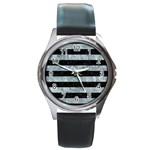 STRIPES2 BLACK MARBLE & ICE CRYSTALS Round Metal Watch