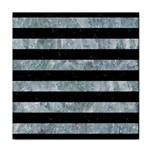 STRIPES2 BLACK MARBLE & ICE CRYSTALS Tile Coasters