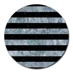 STRIPES2 BLACK MARBLE & ICE CRYSTALS Round Mousepads
