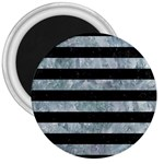 STRIPES2 BLACK MARBLE & ICE CRYSTALS 3  Magnets