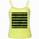 STRIPES2 BLACK MARBLE & ICE CRYSTALS Yellow Spaghetti Tank