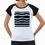 STRIPES2 BLACK MARBLE & ICE CRYSTALS Women s Cap Sleeve T