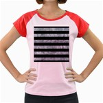 STRIPES2 BLACK MARBLE & ICE CRYSTALS Women s Cap Sleeve T-Shirt