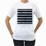 STRIPES2 BLACK MARBLE & ICE CRYSTALS Women s T-Shirt (White) (Two Sided)