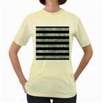 STRIPES2 BLACK MARBLE & ICE CRYSTALS Women s Yellow T-Shirt