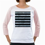 STRIPES2 BLACK MARBLE & ICE CRYSTALS Girly Raglans