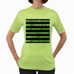 STRIPES2 BLACK MARBLE & ICE CRYSTALS Women s Green T-Shirt