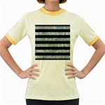 STRIPES2 BLACK MARBLE & ICE CRYSTALS Women s Fitted Ringer T-Shirts