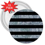 STRIPES2 BLACK MARBLE & ICE CRYSTALS 3  Buttons (10 pack)