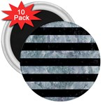 STRIPES2 BLACK MARBLE & ICE CRYSTALS 3  Magnets (10 pack)