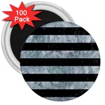 STRIPES2 BLACK MARBLE & ICE CRYSTALS 3  Magnets (100 pack)