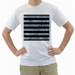 STRIPES2 BLACK MARBLE & ICE CRYSTALS Men s T-Shirt (White) (Two Sided)