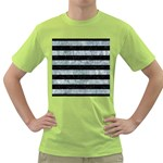 STRIPES2 BLACK MARBLE & ICE CRYSTALS Green T-Shirt