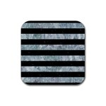 STRIPES2 BLACK MARBLE & ICE CRYSTALS Rubber Coaster (Square)