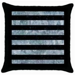 STRIPES2 BLACK MARBLE & ICE CRYSTALS Throw Pillow Case (Black)