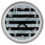 STRIPES2 BLACK MARBLE & ICE CRYSTALS Wall Clocks (Silver)