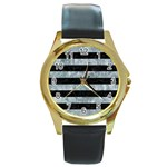 STRIPES2 BLACK MARBLE & ICE CRYSTALS Round Gold Metal Watch