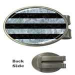 STRIPES2 BLACK MARBLE & ICE CRYSTALS Money Clips (Oval)