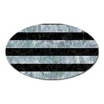 STRIPES2 BLACK MARBLE & ICE CRYSTALS Oval Magnet
