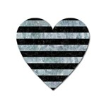 STRIPES2 BLACK MARBLE & ICE CRYSTALS Heart Magnet