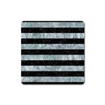 STRIPES2 BLACK MARBLE & ICE CRYSTALS Square Magnet