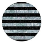 STRIPES2 BLACK MARBLE & ICE CRYSTALS Magnet 5  (Round)