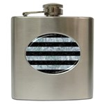 STRIPES2 BLACK MARBLE & ICE CRYSTALS Hip Flask (6 oz)