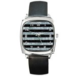 STRIPES2 BLACK MARBLE & ICE CRYSTALS Square Metal Watch