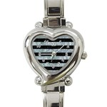 STRIPES2 BLACK MARBLE & ICE CRYSTALS Heart Italian Charm Watch