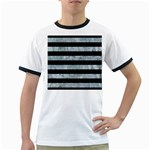 STRIPES2 BLACK MARBLE & ICE CRYSTALS Ringer T-Shirts