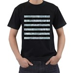 STRIPES2 BLACK MARBLE & ICE CRYSTALS Men s T-Shirt (Black) (Two Sided)