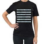STRIPES2 BLACK MARBLE & ICE CRYSTALS Women s T-Shirt (Black) (Two Sided)