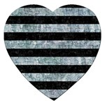 STRIPES2 BLACK MARBLE & ICE CRYSTALS Jigsaw Puzzle (Heart)