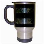 STRIPES2 BLACK MARBLE & ICE CRYSTALS Travel Mug (Silver Gray)