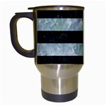 STRIPES2 BLACK MARBLE & ICE CRYSTALS Travel Mugs (White)