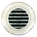STRIPES2 BLACK MARBLE & ICE CRYSTALS Porcelain Plates